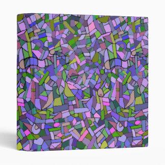 Purple Pink Abstract Mosaic Pattern 3 Ring Binders