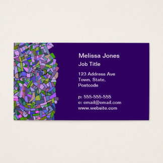 Purple Pink Abstract Mosaic Pattern Business Card