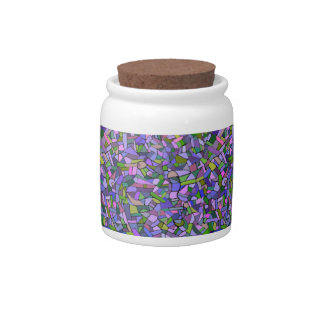 Purple Pink Abstract Mosaic Pattern Candy Jar