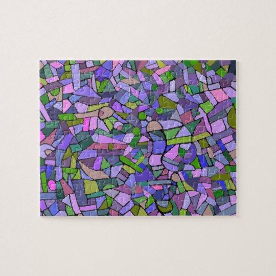 Purple Pink Abstract Mosaic Pattern Jigsaw Puzzle