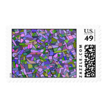 Purple Pink Abstract Mosaic Pattern Postage