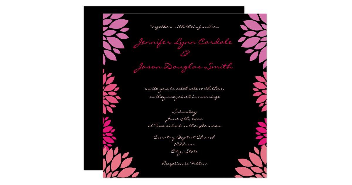Purple pink and black flower wedding invitations zazzle for 70 s wedding invitations