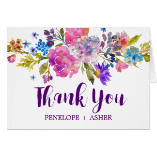 Purple Pink and Blue Flowers Wedding Thank You Card