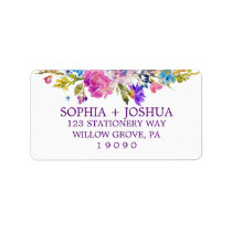 Purple Pink and Blue Watercolor Flowers Wedding Label