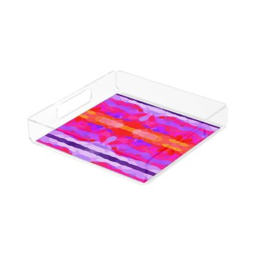 Beach Themed Purple, Pink and Orange Tie Dye Acrylic Tray