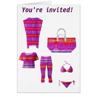 Purple, pink and orange tie dye greeting card