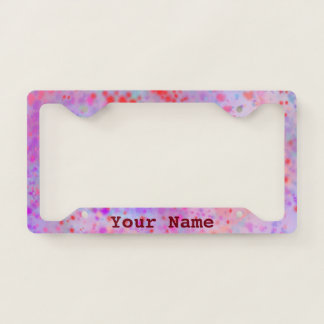 Purple Pink and Red Paint Splatter Add Your Name License Plate Frame