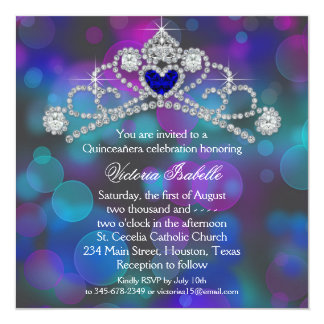 Purple Pink and Teal Blue Quinceanera Card