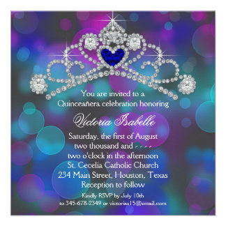 Purple Pink and Teal Blue Quinceanera Personalized Invitation
