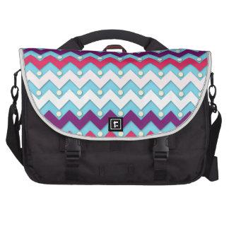 Purple Pink and White Chevron Laptop Commuter Bag