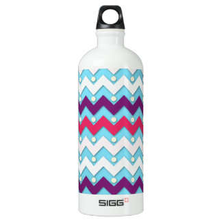 Purple Pink and White Chevron Water Bottle