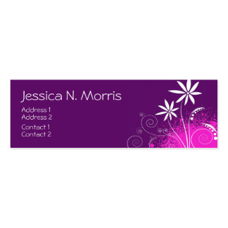 Purple, Pink and White Flowers Double-Sided Mini Business Cards (Pack Of 20)