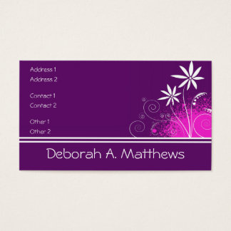 Purple, Pink and White Flowers Business Card