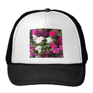 purple pink and white pansys trucker hat