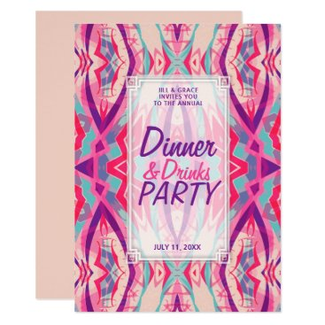 Aztec Themed Purple Pink Aqua Boho Chic Dinner Drinks Party Card
