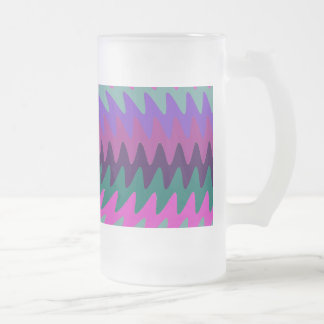 Purple Pink Aqua Saw Blade Ripples Waves Frosted Glass Beer Mug