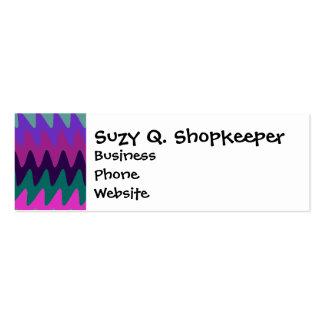 Purple Pink Aqua Saw Blade Ripples Waves Mini Business Card