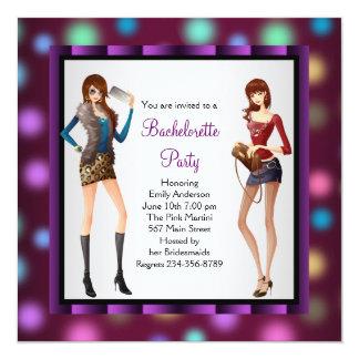 Purple Pink Bachelorette Party 5.25x5.25 Square Paper Invitation Card