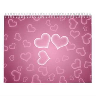 Purple pink background with white hearts pattern calendar
