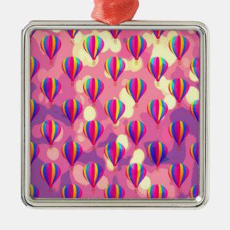 Purple Pink Balloon Pattern Square Metal Christmas Ornament