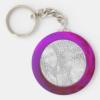 purple pink basic round button keychain