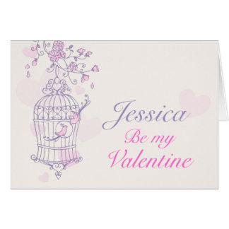Purple pink bird cage valentine's day name card