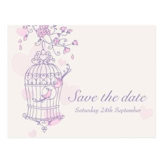Purple pink bird cage wedding save the date card