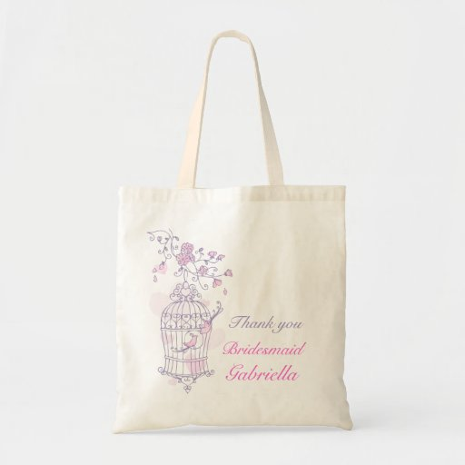Purple pink bird wedding attendant bridesmaid bag