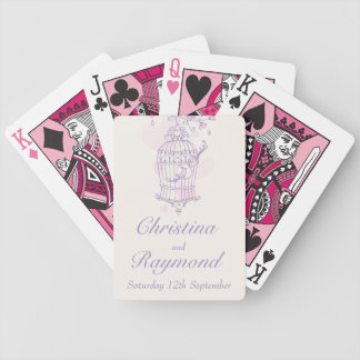 Purple pink birds cage wedding name playing cards