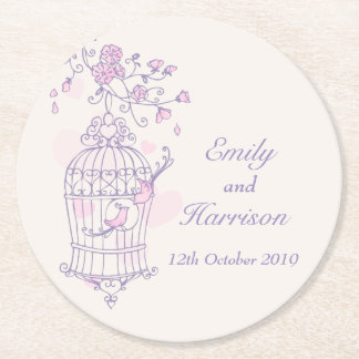 Purple & pink birds open cage wedding coasters