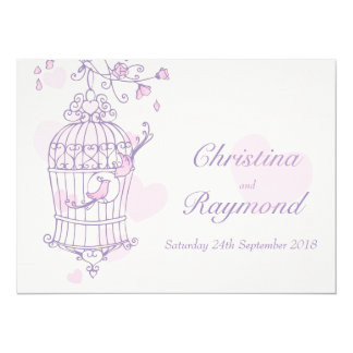 Purple pink birds open cage wedding invitation