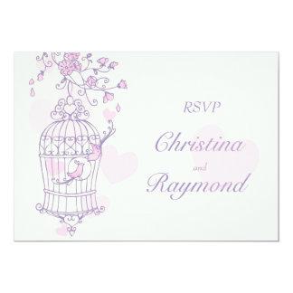 Purple & pink birds open cage wedding RSVP 5x7 Paper Invitation Card