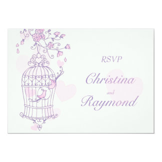 Purple & pink birds open cage wedding RSVP Card