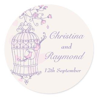 Purple & pink birds open cage wedding sticker