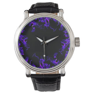 purple pink black fire flame vintage style watch