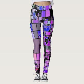 Purple pink blue black geometric art cool Leggings