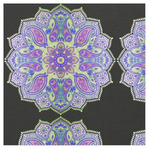 purple  pink  blue  black paisley mandala fabric