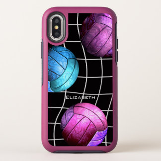 purple pink blue custom name women's volleyball OtterBox symmetry iPhone x case