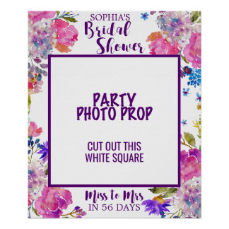 Purple Pink & Blue Flower Bridal Shower Photo Prop Poster