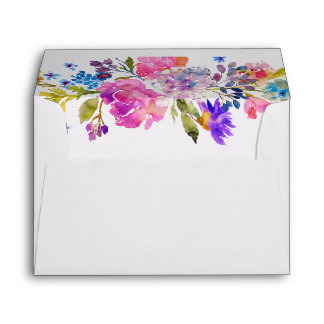 Purple Pink & Blue Flower Lined Wedding Invitation Envelope