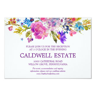 Purple Pink & Blue Flower Wedding Reception Insert Card