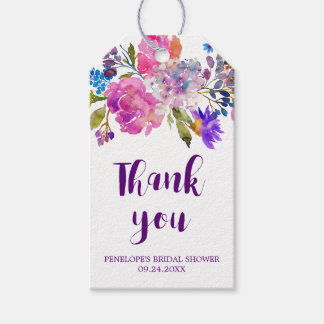 Purple Pink & Blue Flowers Bridal Shower Thank You Gift Tags