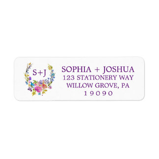 Purple Pink & Blue Monogram Floral Wreath Wedding Label
