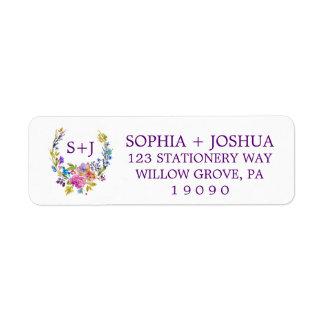 Purple Pink & Blue Monogram Floral Wreath Wedding Label