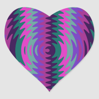 Purple Pink Blue Saw Blade Ripples Waves Heart Sticker
