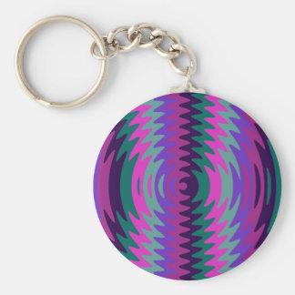 Purple Pink Blue Saw Blade Ripples Waves Keychain