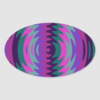 Purple Pink Blue Saw Blade Ripples Waves Oval Sticker
