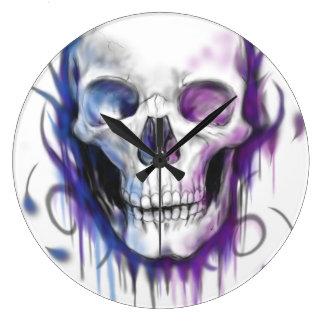 Purple Pink & Blue Skull Clock