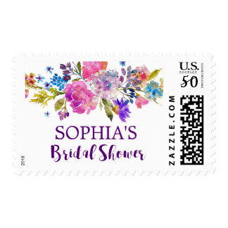 Purple Pink & Blue Watercolor Flower Bridal Shower Postage