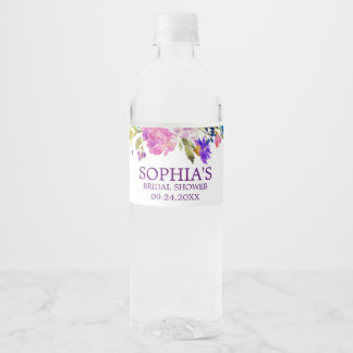 Purple Pink & Blue Watercolor Flower Bridal Shower Water Bottle Label